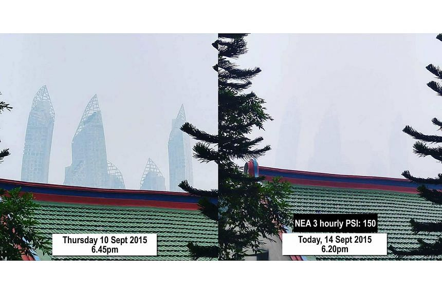 A combination picture showing the haze at Telok Blangah on Monday, Sept 14, 2015, as compared to Thursday, Sept 10, four days earlier.
