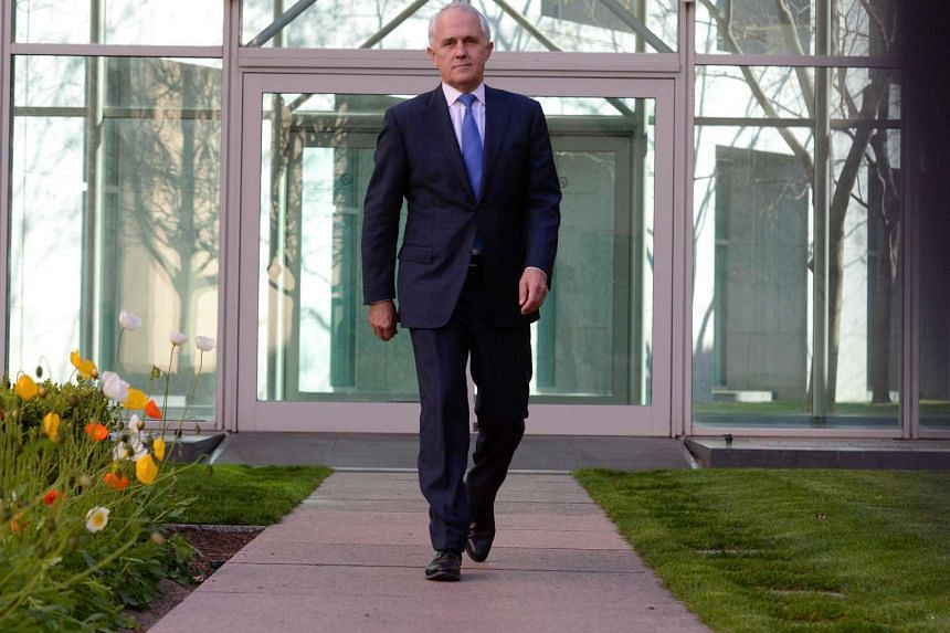 Australian Federal Minister for Communications Malcolm Turnbull prior to a press conference at Parliament House in Canberra, Australia, Sept 14, 2015.