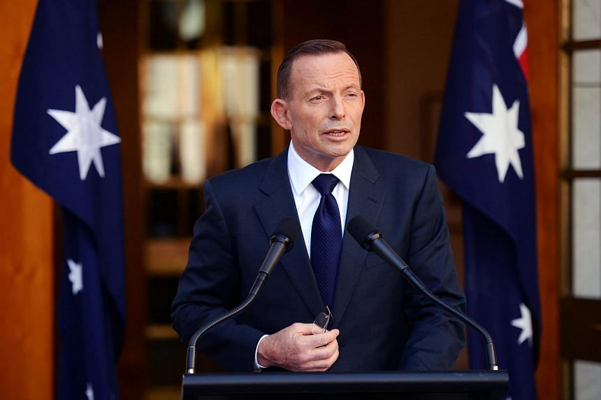 Former Australian Prime Minister Tony Abbott speaks during a press conference in the Prime Ministerial Courtyard on Sept 15, 2015.