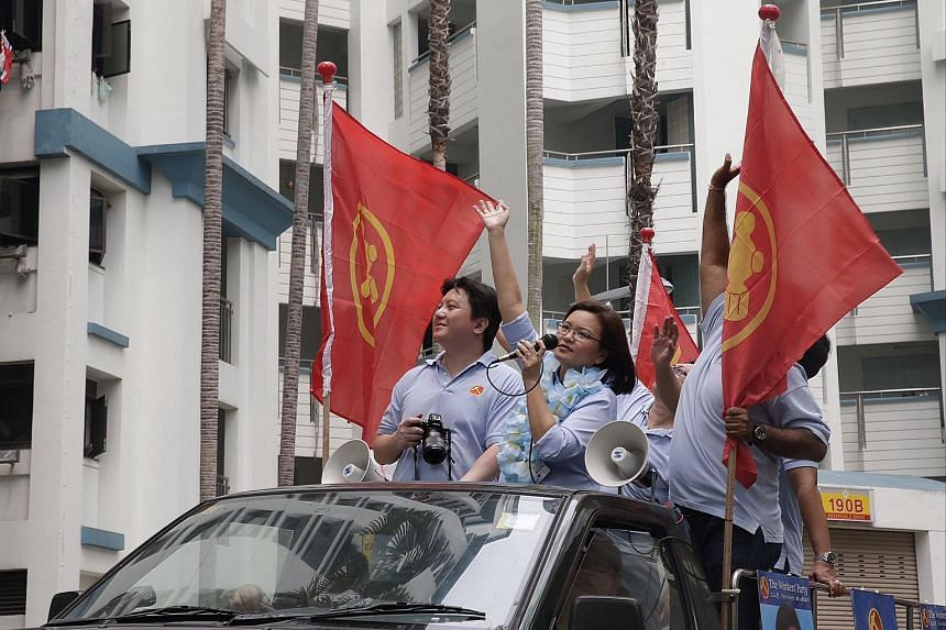 Workers' Party candidate for Punggol East SMC Ms Lee Li Lian goes on a thank you procession around the neighbourhood on Sept 12, 2015.