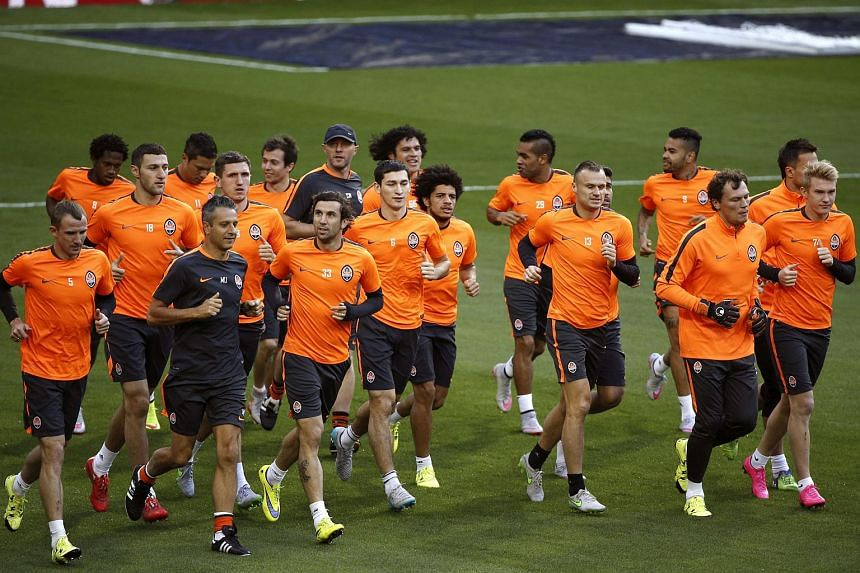 Shakhtar Donetsk players during a training session at Santiago Bernabeu stadium, in Madrid, Spain, on Sept 14, 2015.