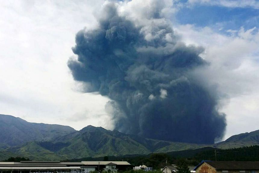 An eruption of Mount Aso in Kumamoto Prefecture, Japan's southwestern island of Kyushu, is shown in a photo taken by local resident Shoji Wakamiya on Monday.