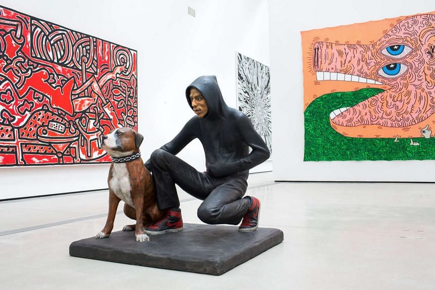 At The Broad museum, Raymond and Toby (above), a sculpture by John Ahearn; and a room devoted to sculptures and paintings by Takashi Murakami.