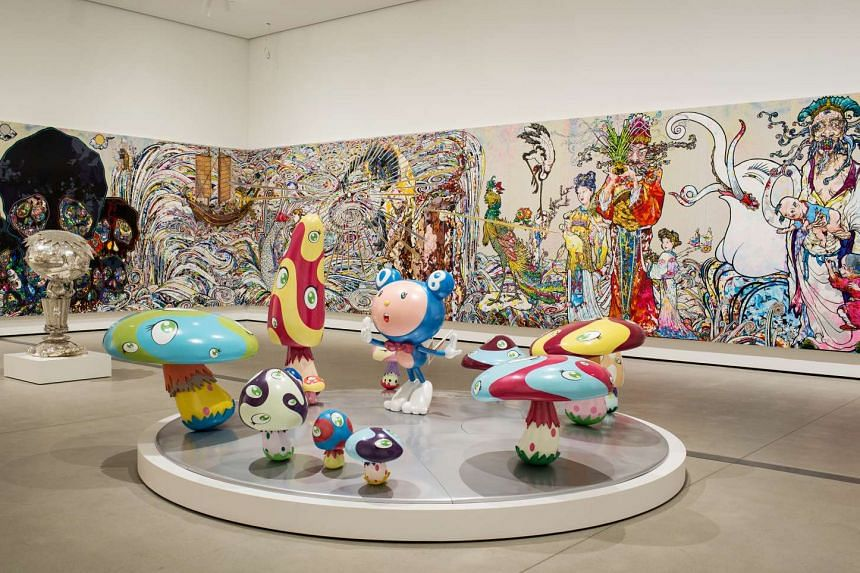 At The Broad museum, Raymond and Toby, a sculpture by John Ahearn; and a room (above) devoted to sculptures and paintings by Takashi Murakami.