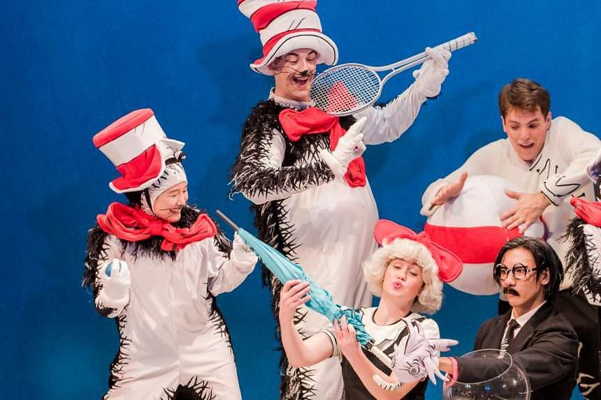 The lead character in The Little Company's Dr Seuss' The Cat In The Hat is played by British actor Joseph Houston (second from left).