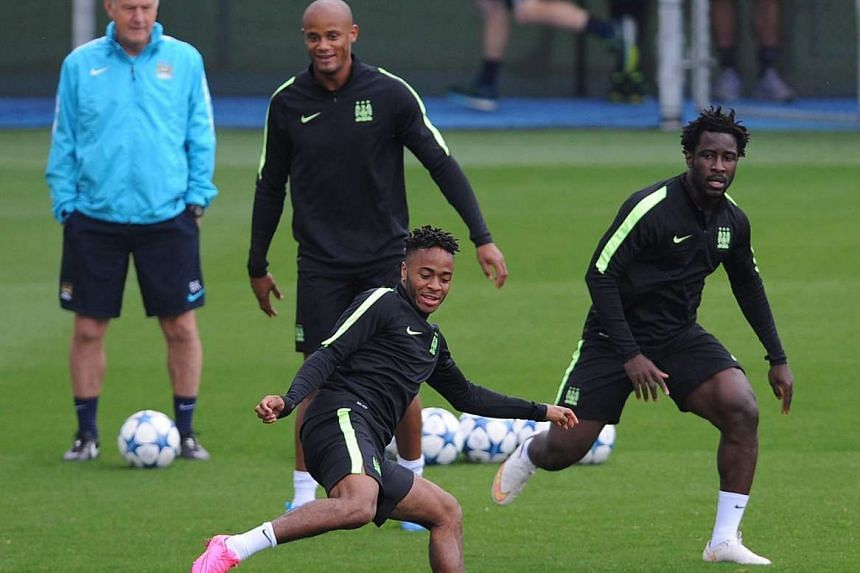 Manchester City, with Raheem Sterling (on the ball), Vincent Kompany and Wilfried Bony (right) in training, could be hobbled by the absence of the injured Sergio Aguero up front. They have been warned to be wary of Juventus who have not won yet since the
