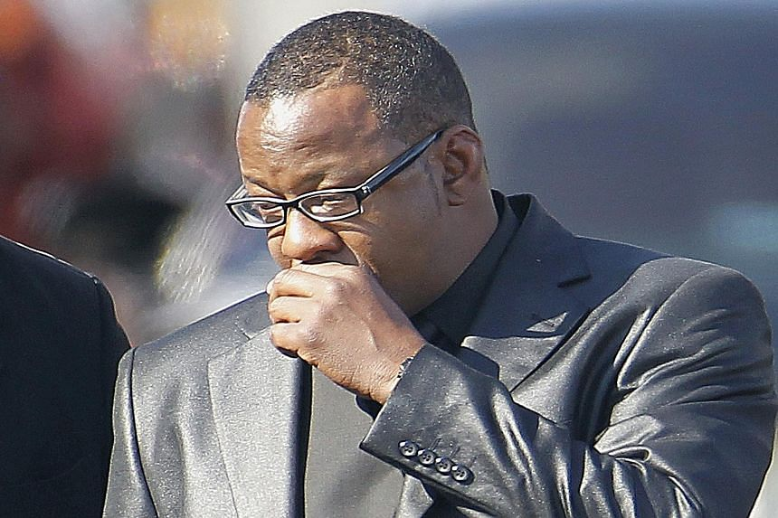 Bobby Brown at the funeral of his daughter Bobbi Kristina Brown in New Jersey in February.