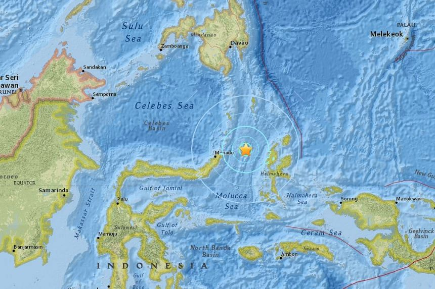 A map from the US Geological Survey (USGS) showing the site of the earthquake, between the islands of Sulawesi and Halmahera.