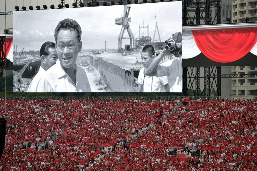 A tribute film honouring the late Mr Lee Kuan Yew being shown on the big screen during the National Day Parade at the Padang on Aug 9.