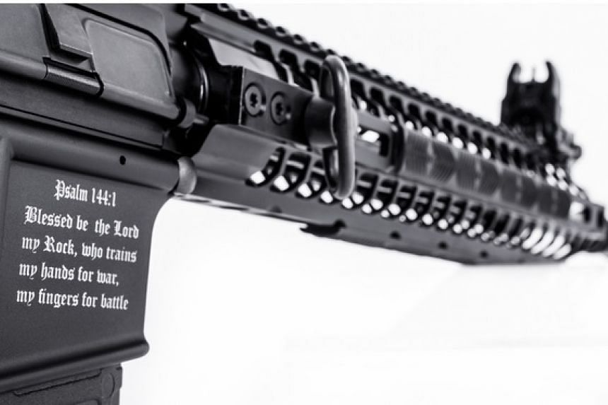 Screenshot of the Crusader rifle with Bible verse inscribed on its handle, as advertised on the manufacturer's website.