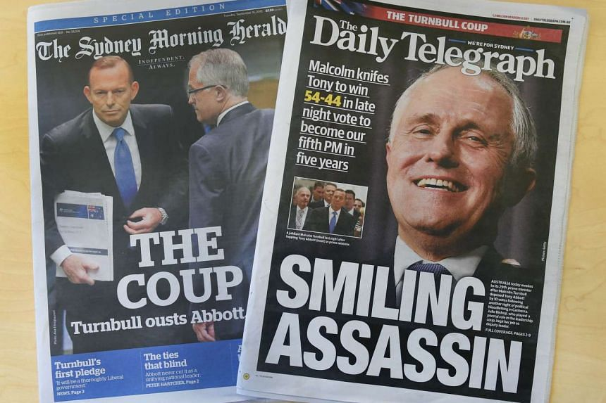 Mr Malcolm Turnbull's ouster of former prime minister Tony Abbott in a sudden party-room vote on Monday madethe front pages of Australian newspapers. He was sworn in as Australia's 29th Prime Minister yesterday.