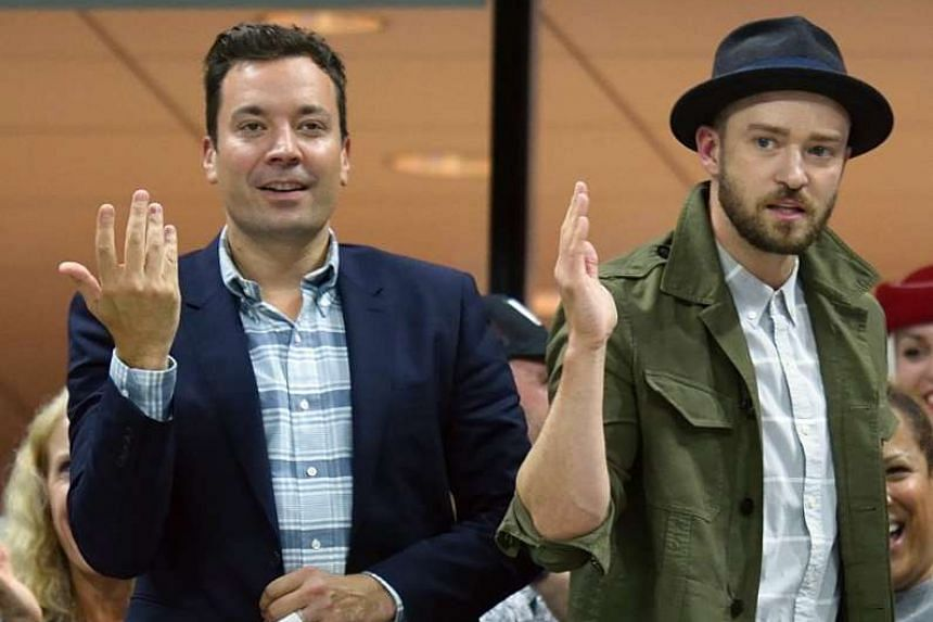 Justin Timberlake (right) and Jimmy Fallon entertain watchers during a break at the recent US Open tennis tournament.