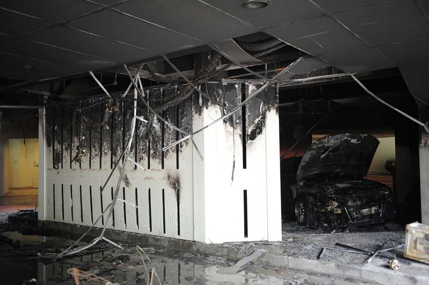 The top part of an entry point to the carpark and the ceiling at The Arcadia was burnt black.