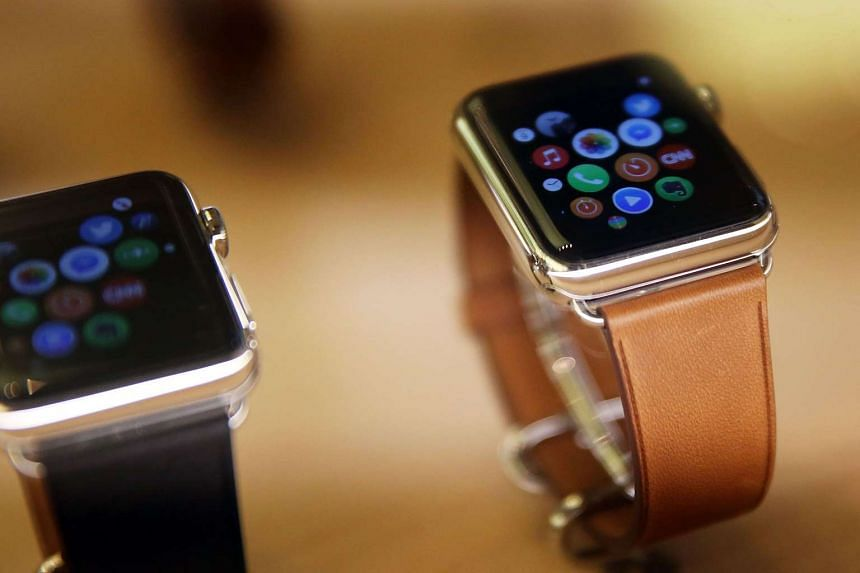 New models of the Apple Watch at an Apple store in New York City on Sept 10, 2015.