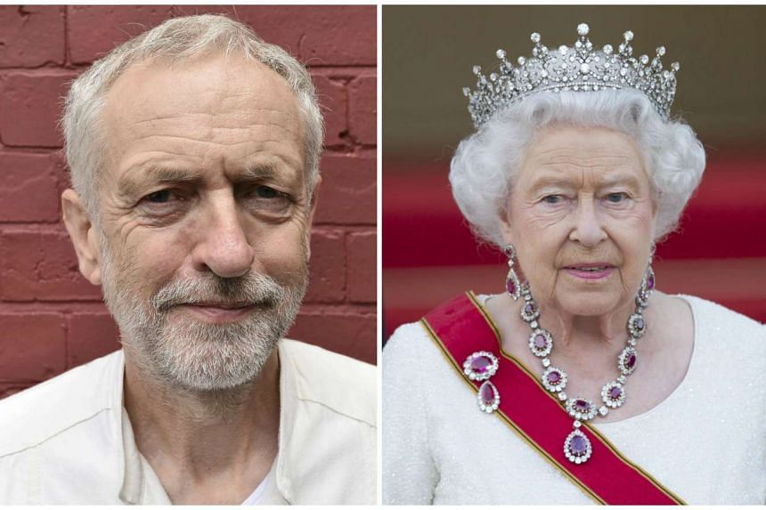 New opposition leader Jeremy Corbyn (left) must decide whether he will kneel before Britain's Queen Elizabeth (right).