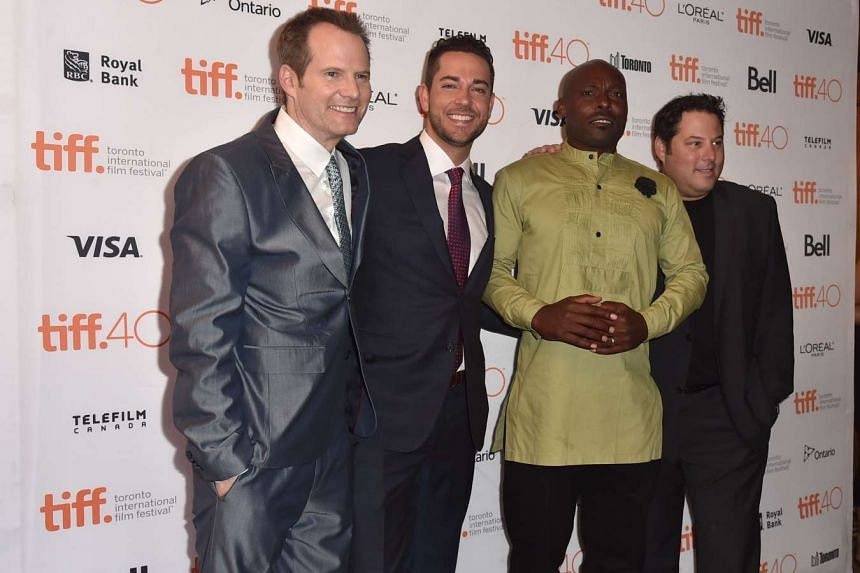 Suzanne Sng S: (From left) Actors Jack Coleman, Zachary Levi, Jimmy Jean-Louis and Greg Grunberg attend the Heroes Reborn premiere at the 2015 Toronto International Film Festival.