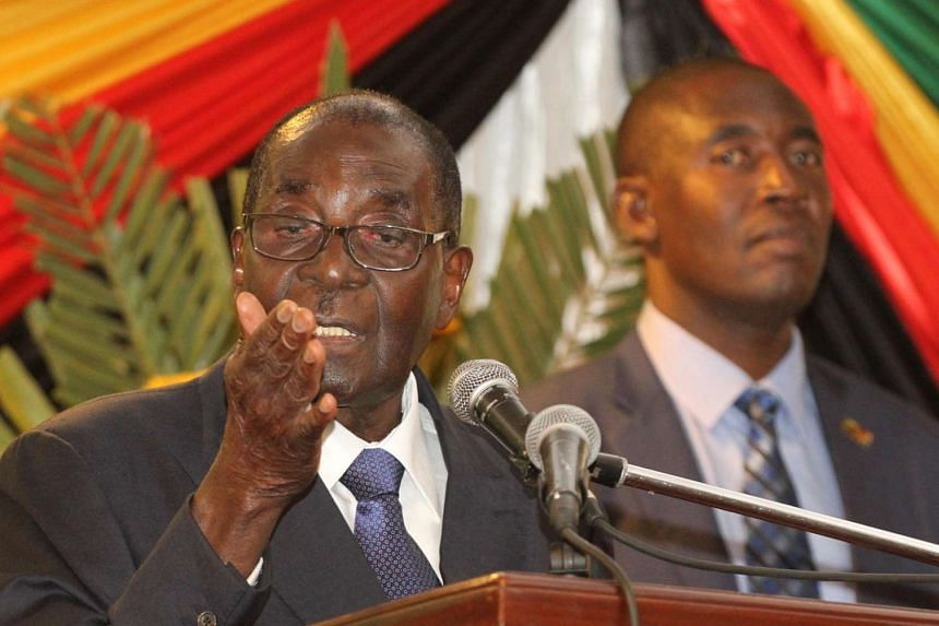 Mugabe gives the speech he intended to make at parliament on Tuesday, at a hotel in the Zimbabwean capital Harare.