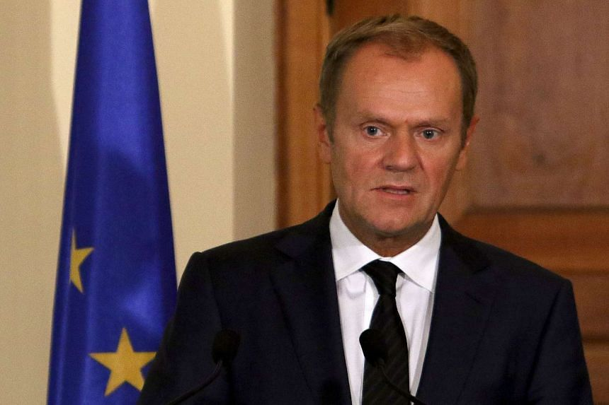European Council President Donald Tusk speaks during a news conference on Sept 11, 2015.
