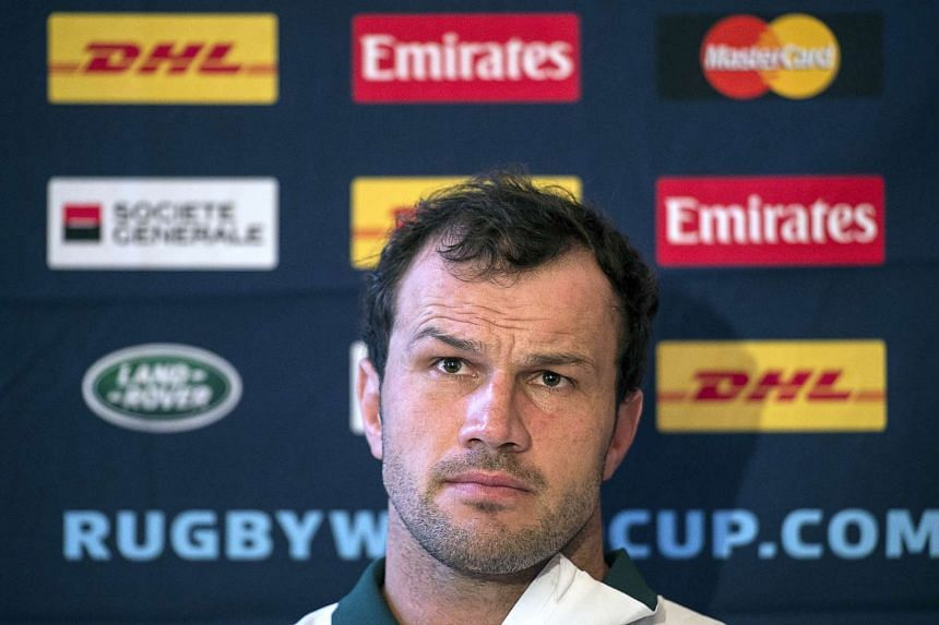 South Africa's hooker Bismarck Du Plessis at a press conference at the Grand Hotel in Eastbourne, on Sept 15, 2015.