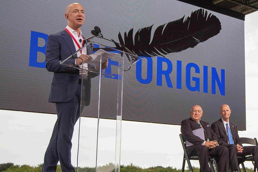 Blue Origin founder Jeff Bezos announcing plans to build a rocket manufacturing plant and launch site at Cape Canaveral Air Force Station on Tuesday.