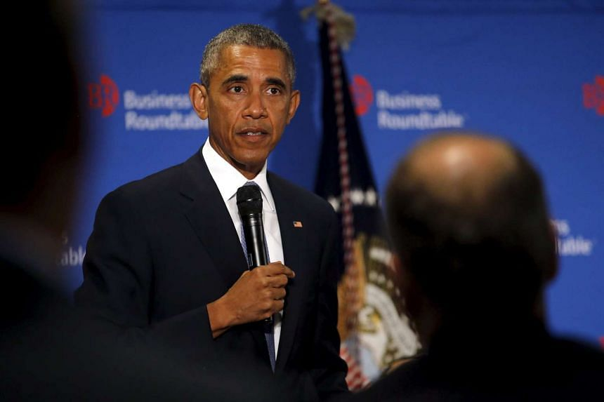 US President Barack Obama delivers remarks at the Business Roundtable offices in Washington.