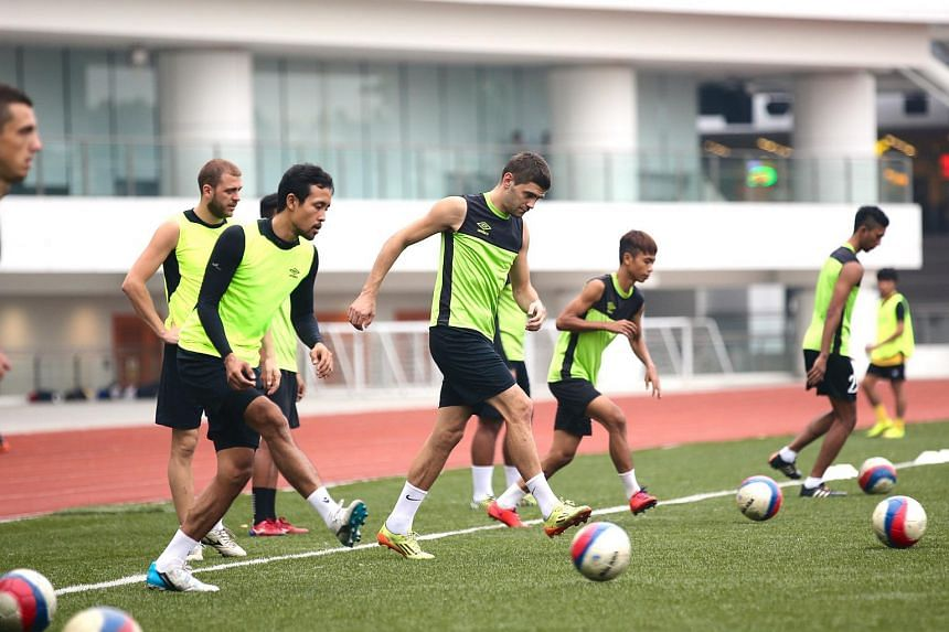 Balestier Khalsa players at a training session.