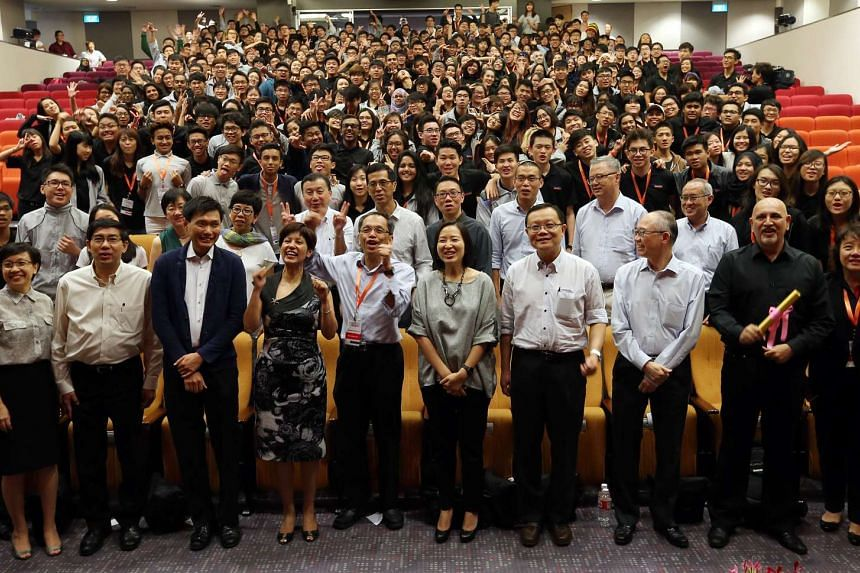 Ms Indranee Rajah (front row, 4th left) at the annual Polytechnic Forum on Sept 18, 2015.