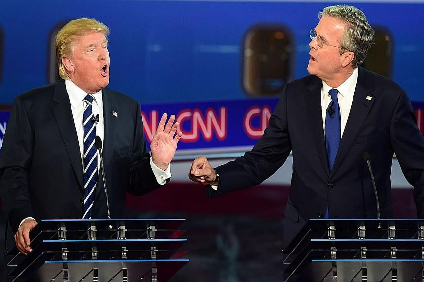 Mr Donald Trump (top, left) with Mr Jeb Bush, and Mrs Carly Fiorina (above).