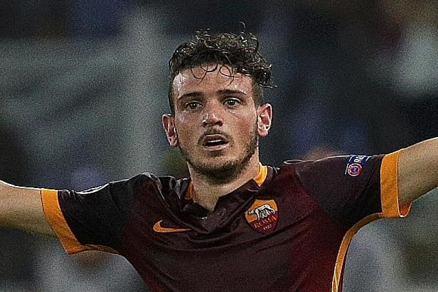 """Stranded Barcelona goalkeeper Marc-Andre ter Stegen has no answer to the dramatic equaliser by Roma's Alessandro Florenzi (above) during their Champions League match in Rome on Wednesday. """"I couldn't believe it went in,"""" said Florenzi of his shot fro"""