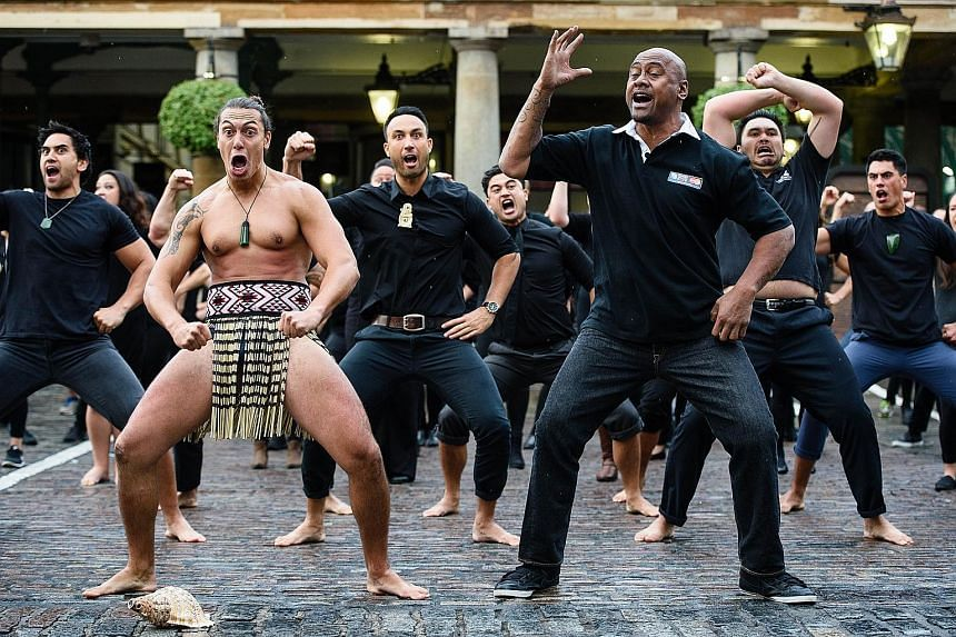 Former New Zealand star Jonah Lomu (front, right) and members of the Ngati Ranana London Maori Club doing the haka during a photocall at a MasterCard event in London's Covent Garden. The All Blacks are the favourites to win a third World Cup.