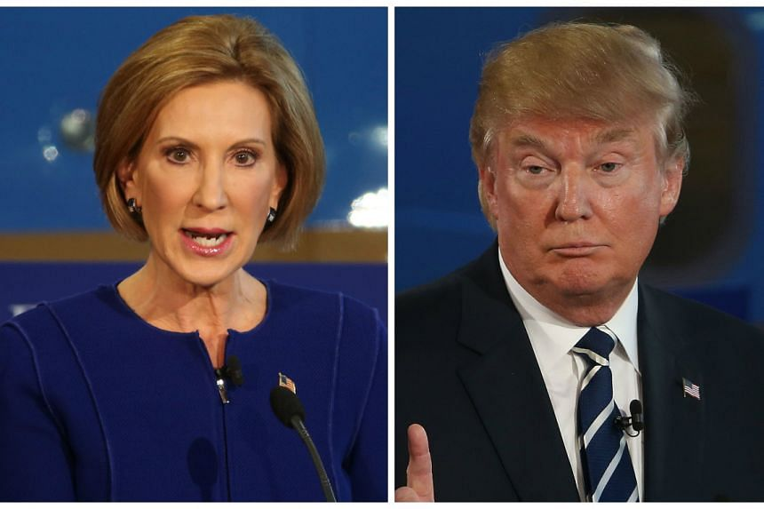 Fiorina (left) landed some stinging blows against frontrunner Donald Trump.
