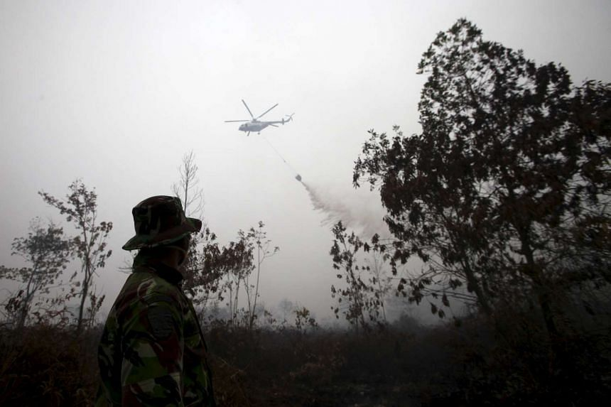 An Indonesian soldier watching as a helicopter water bomber releases its cargo over a peatland fire in Kampar, at Riau, Sumatra, on Sept 17, 2015.