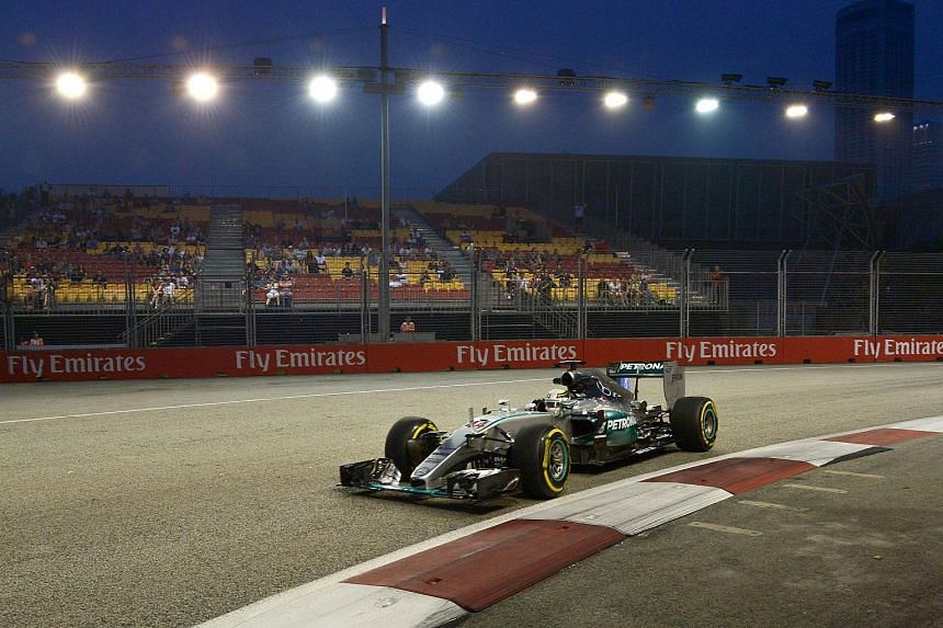 Lewis Hamilton in action during the first free practice session of the Singapore Grand Prix.