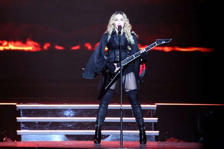 Madonna performing at Madison Square Garden in New York City on Sept 16, 2015.
