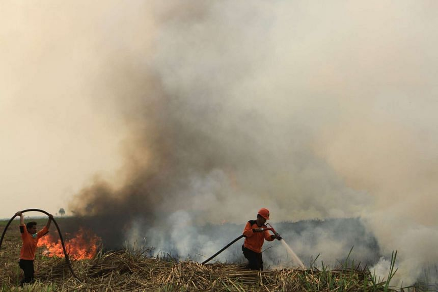Indonesian fire fighters put out a fire in Ogan Ilir, South Sumatra on Sept 5, 2015.