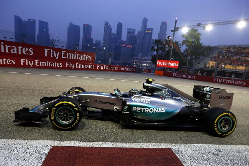 Nico Rosberg during the first Singapore Grand Prix practice session on Sept 18, 2015.