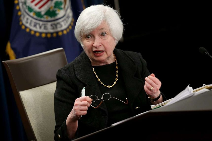 Yellen answers questions during a news conference after the meeting.