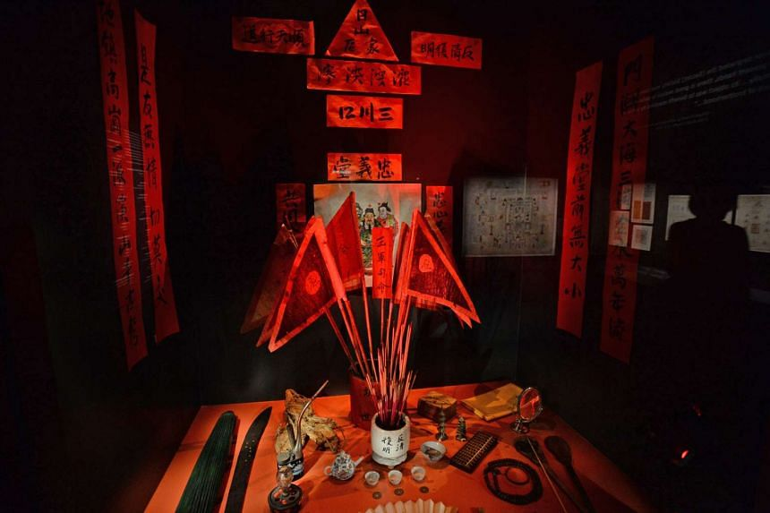 Exhibits of the Chinese secret society rituals at the new Singapore History Gallery at the National Museum of Singapore.