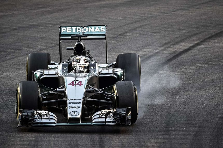 Lewis Hamilton locking up his wheels during the final free practice session of the Singapore Grand Prix.