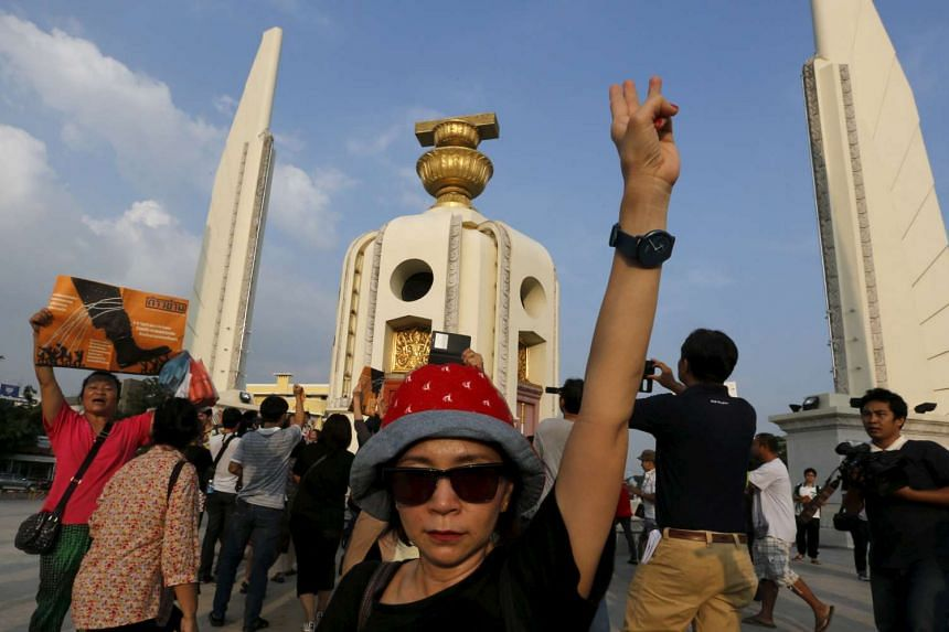 A demonstrator at a rally in front of the Democracy Monument in Bangkok.