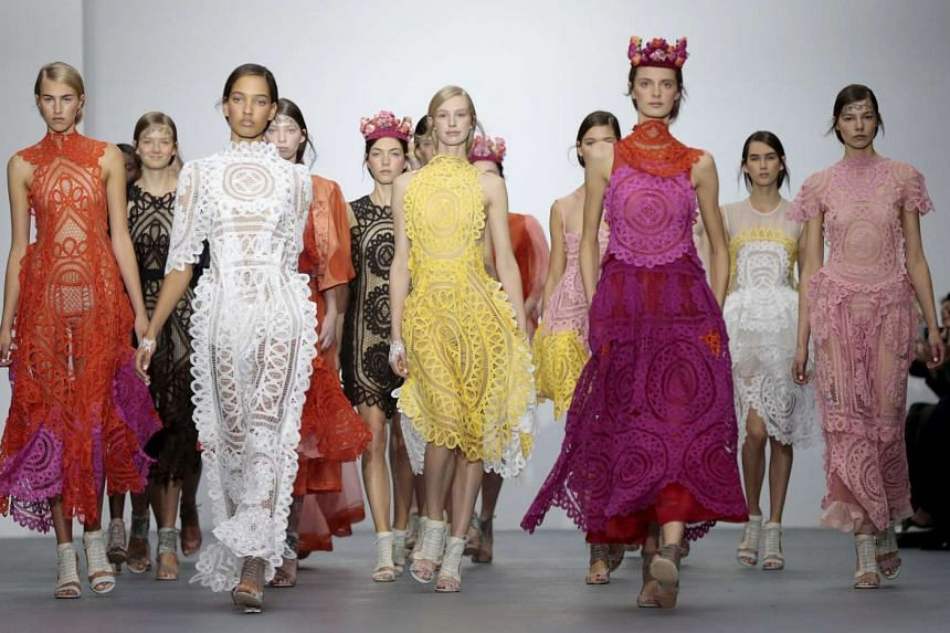 Models present creations from the Bora Aksu Spring/Summer 2016 collection.