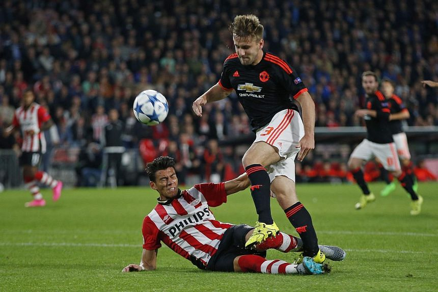 Shaw was injured under a challenge from PSV Eindhoven' Moreno as he stormed into the penalty area in the 15th minute of PSV's 2-1 win in their Group B opener.
