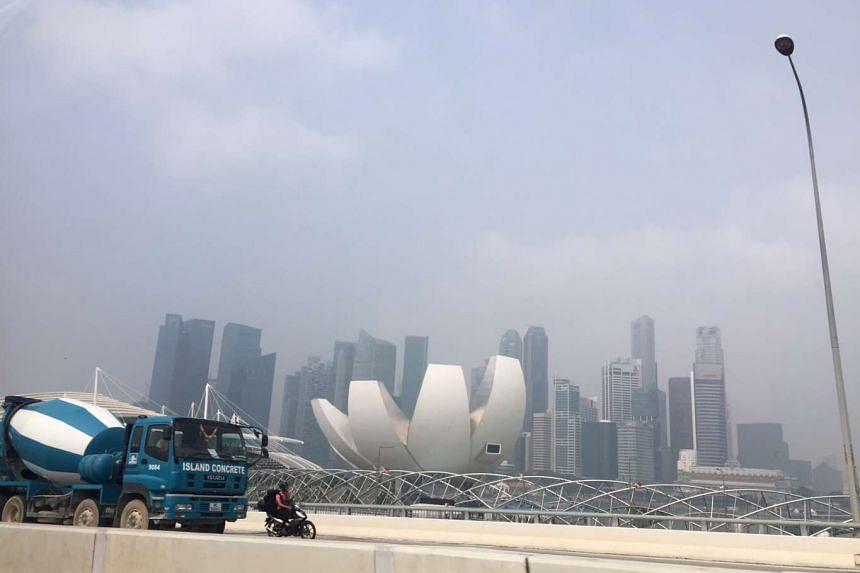 The Singapore skyline shrouded in haze on Sept 19, 2015 at about 10.45am.