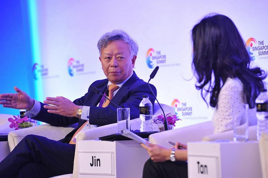Mr Jin Luqin, president-designate of the Asian Infrastructure Investment Bank, speaking at The Singapore Summit at the Marina Bay Sands Expo and Convention Centre on Sept 19, 2015.