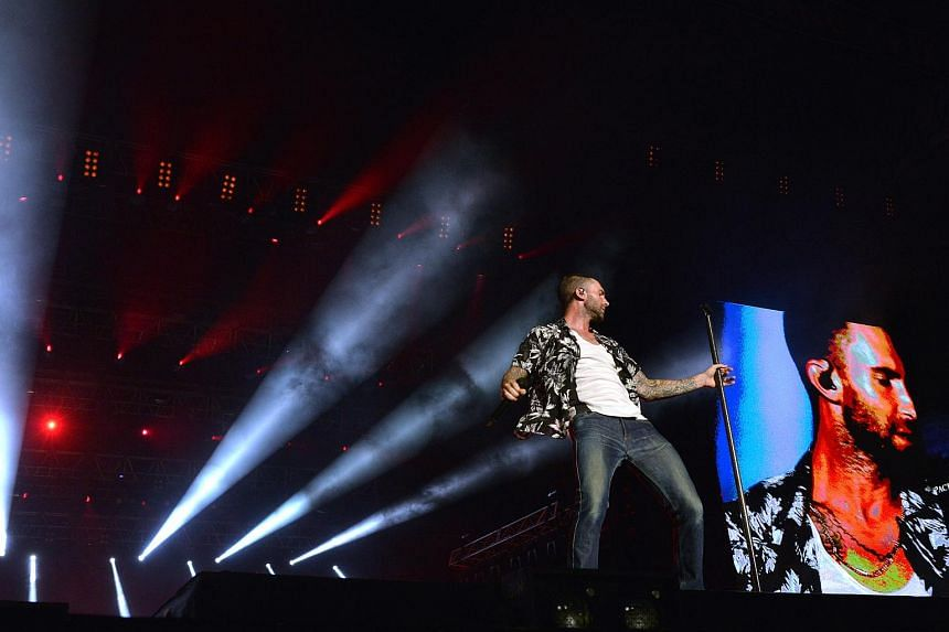 Maroon 5 performs on the second day of the 2015 Formula 1 Singapore Airlines Singapore Grand Prix.