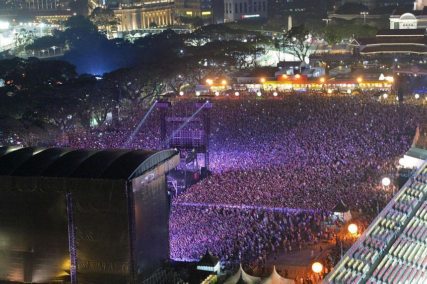 Maroon 5 concert goers as seen from Swissotel The Stamford on Sept 19, 2015.