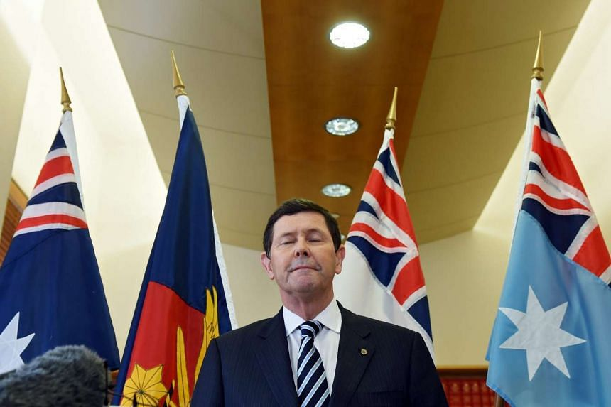 Australian Defence Minister Kevin Andrews speaking at a press conference in Melbourne, Australia, on September 20, 2015. Long-serving minister and Tony Abbott backer Kevin Andrews has been removed from the defence portfolio. New Prime Minister Turnbu