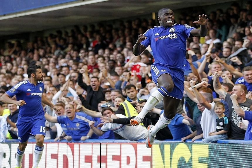 Chelsea's French defender Kurt Zouma (above) opens the scoring for Chelsea whose eventual 2-0 win revived their defence of the EPL crown after a sluggish start to the season.