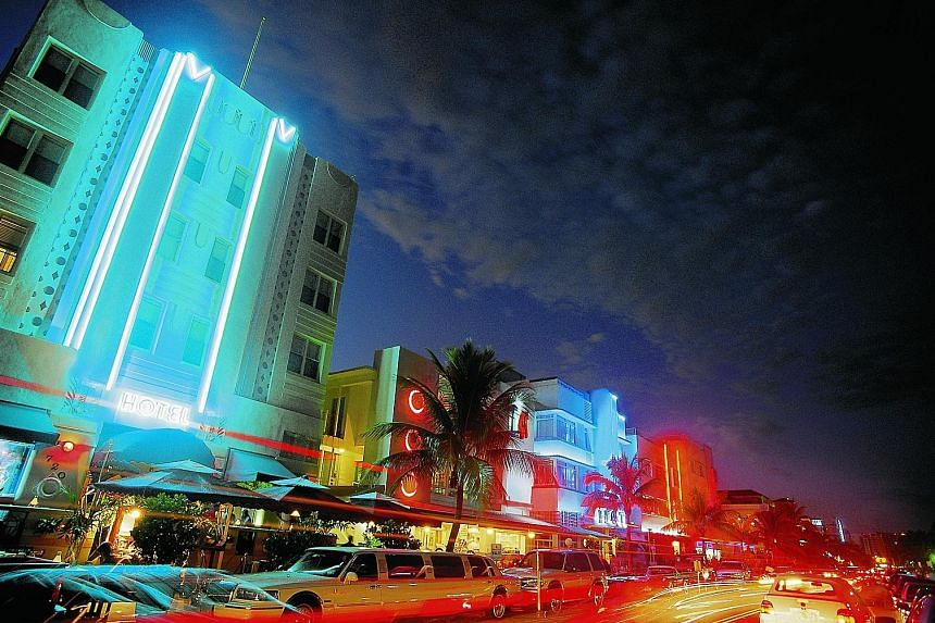 Alexander Chew (above) says Miami, with its neon-lit buildings, comes alive at night.