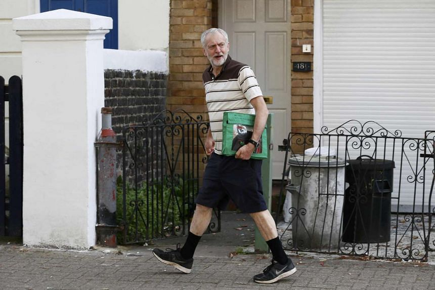 Corbyn leaving his north London home, Sept 11, 2015.